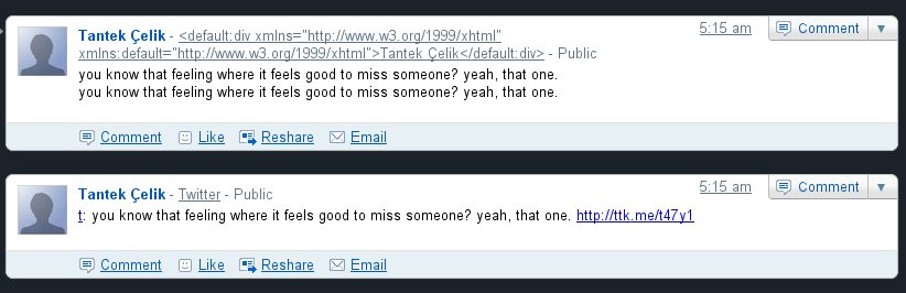 screenshot comparing Google Buzz display of an hAtom entry and the equivalent tweet on Twitter.