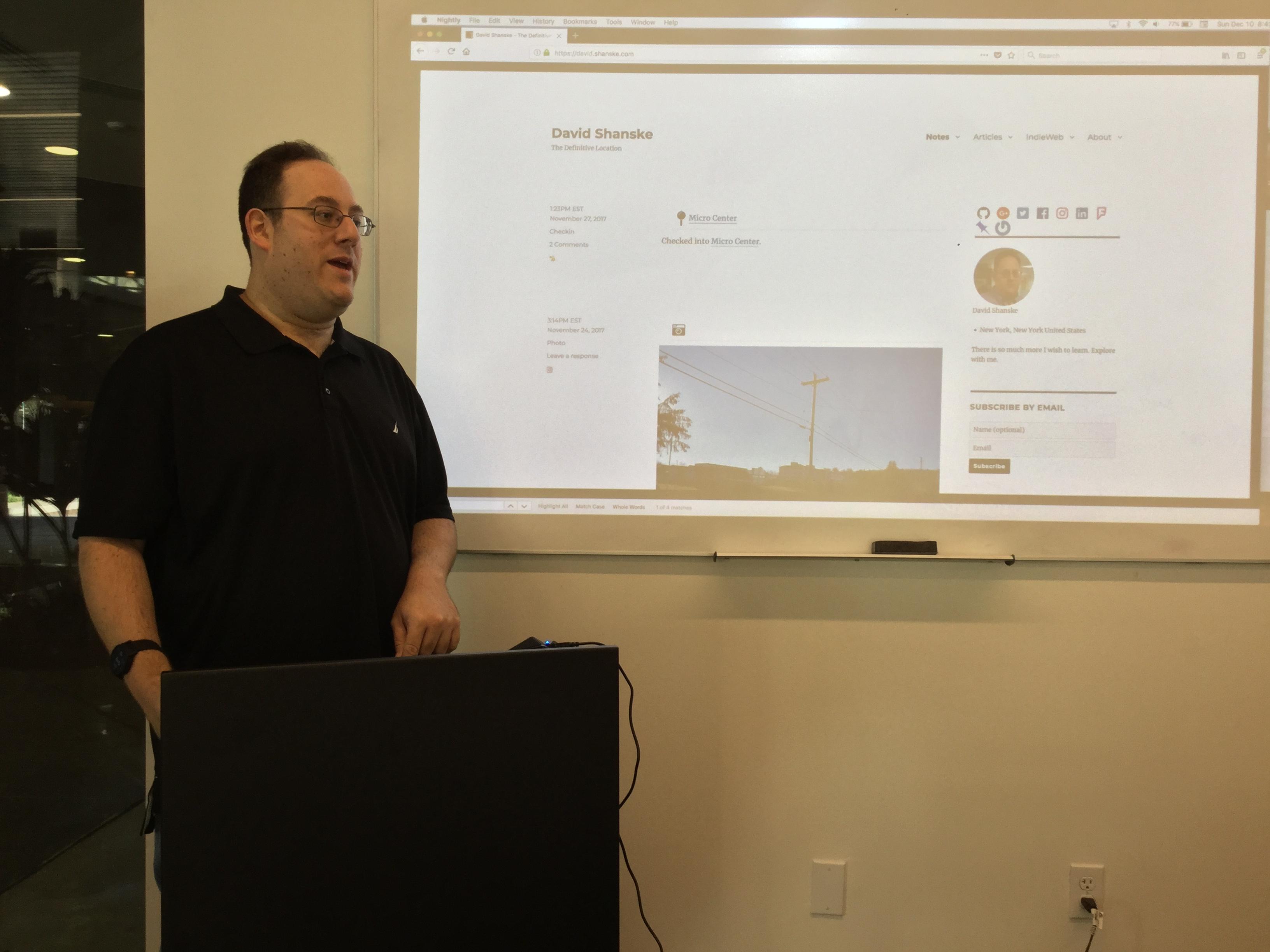 David Shanske during project proposals