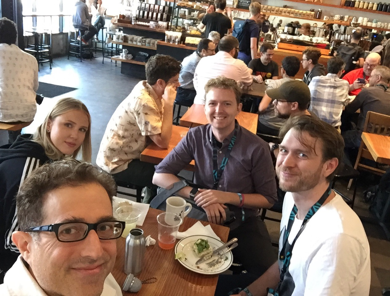 XOXO IndieWeb meetup participants, selfie by Tantek with two folks from Oslo, and Alan