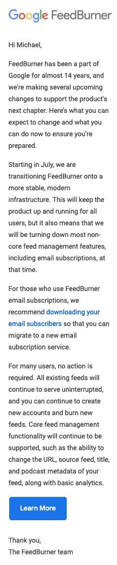 Google FeedBurner transition email screenshot