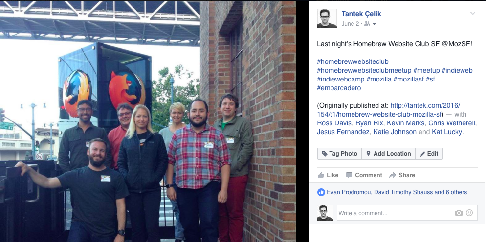 Screenshot of the Facebook POSSE copy of an indie photo post with person-tags.