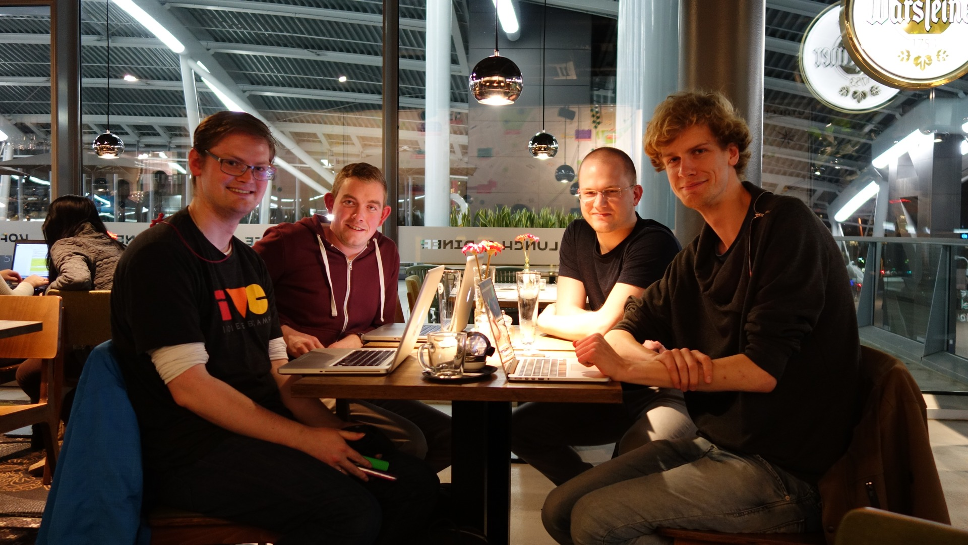 Photo of Homebrew Website Club the Netherlands with Martijn, Jeroen, Jesse, and Sebastiaan