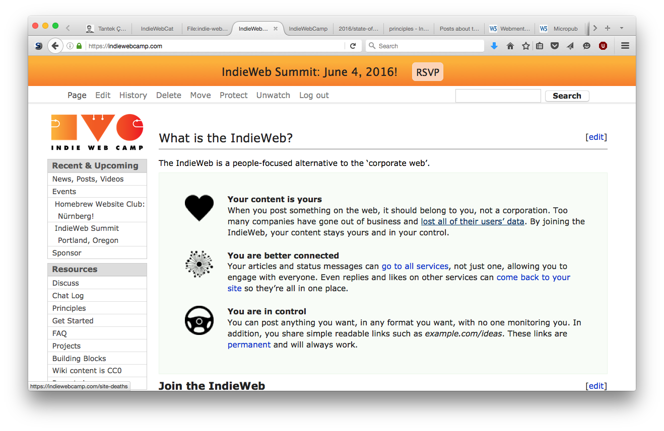 Screenshot of the IndieWebCamp.com home page as of 2016-06-03