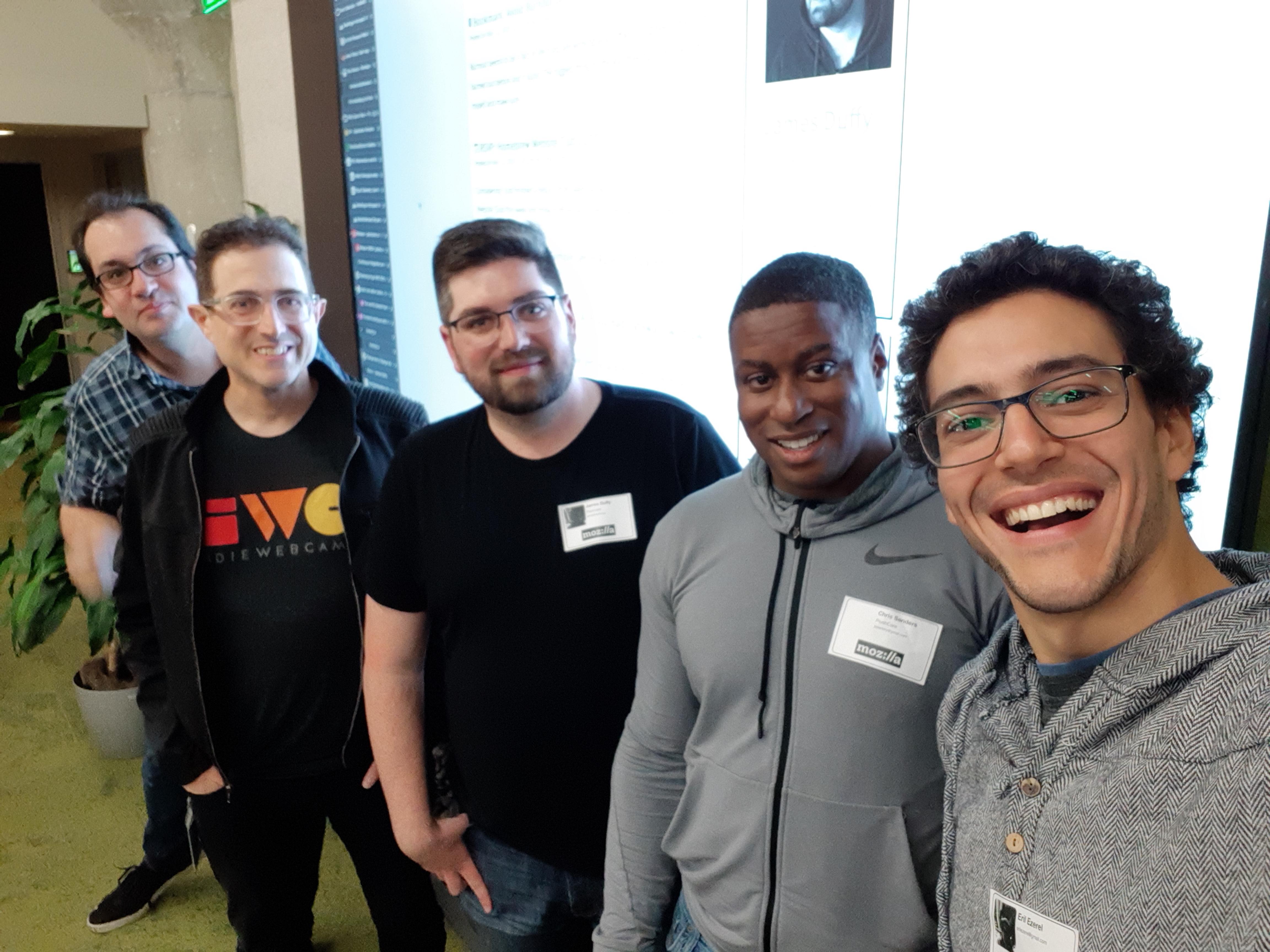 Ben Werdmüller, Tantek Çelik, James Duffy, Chris, and Eril at Homebrew Website Club San Francisco at Mozilla