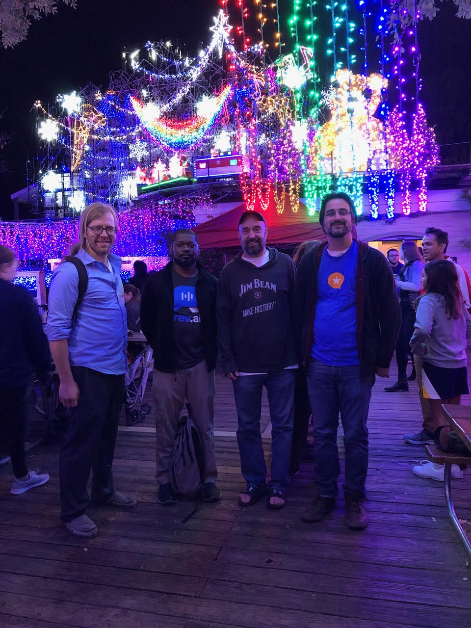 John, Cornelius, Tom, and Manton at Mozart's Coffee, Austin, TX 2019-12-04