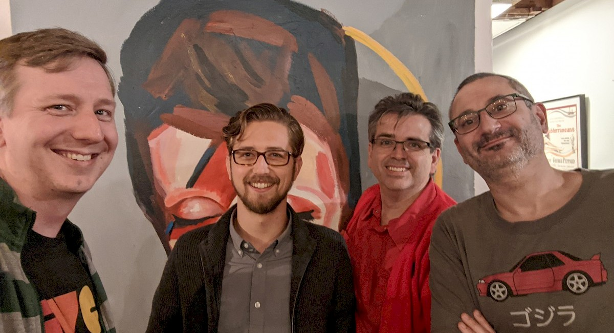 gRegor Morrill, Jordan Yonts, Joe Crawford, and Simon Prickett with a Bowie painting at Homebrew Website Club San Diego
