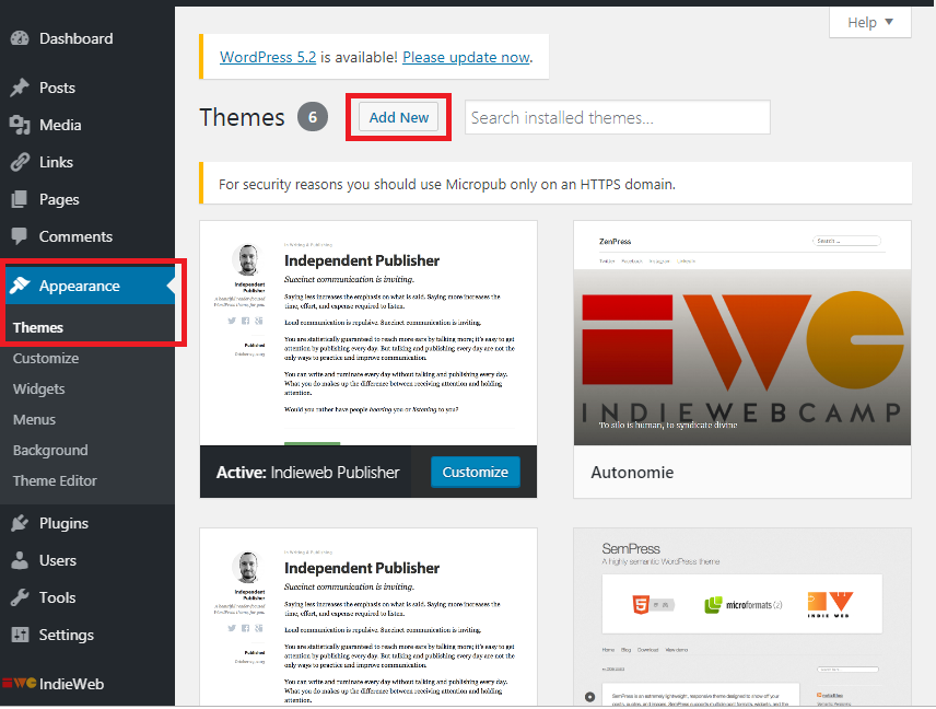"Screencapture of the WP admin UI highlighting the Appearance>>Themes section and the ""Add New"" button on the Themes interface page"