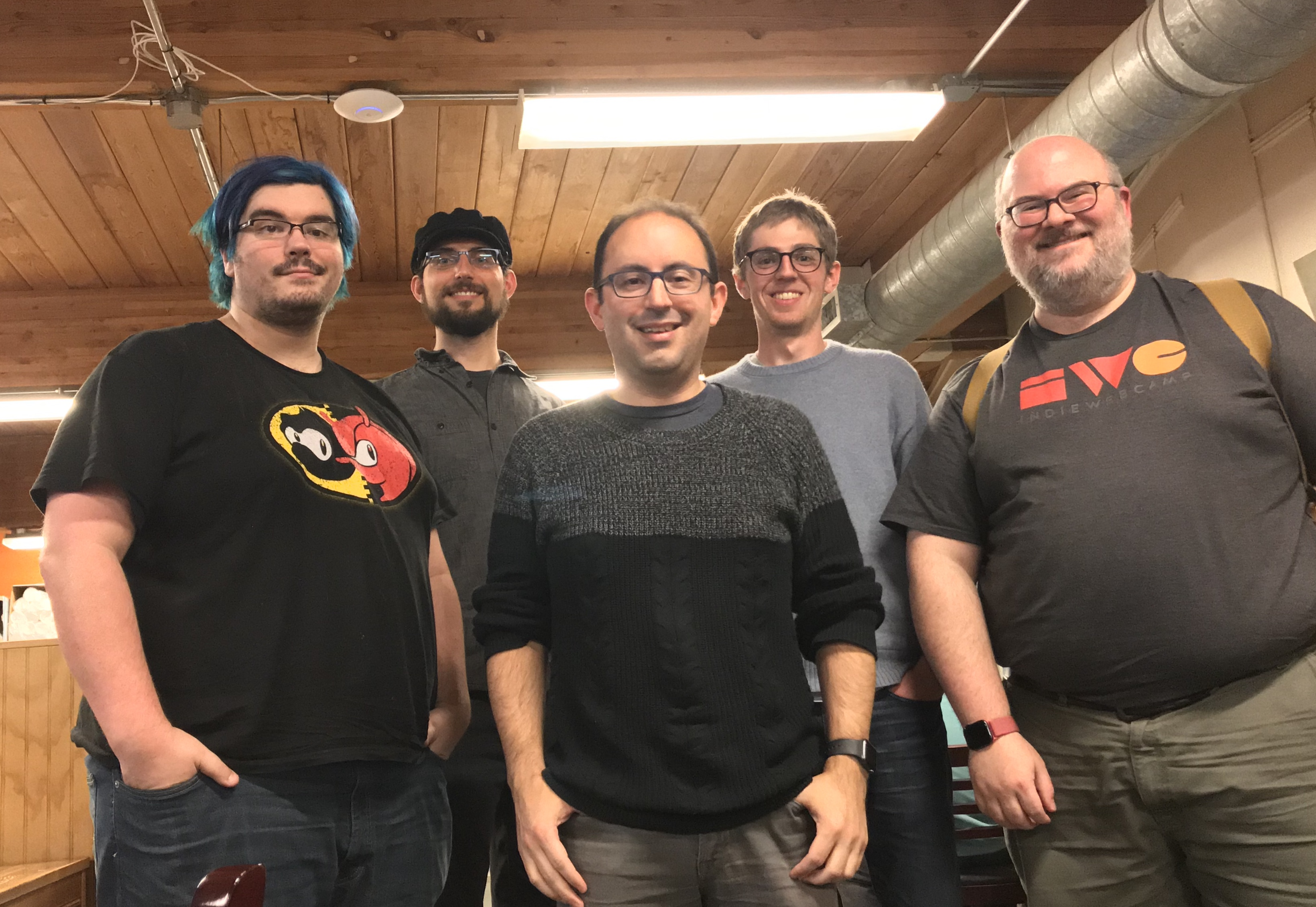 Steve, Tim, David, Cody, Doug inside the Wayward Coffeehouse for HWC Seattle