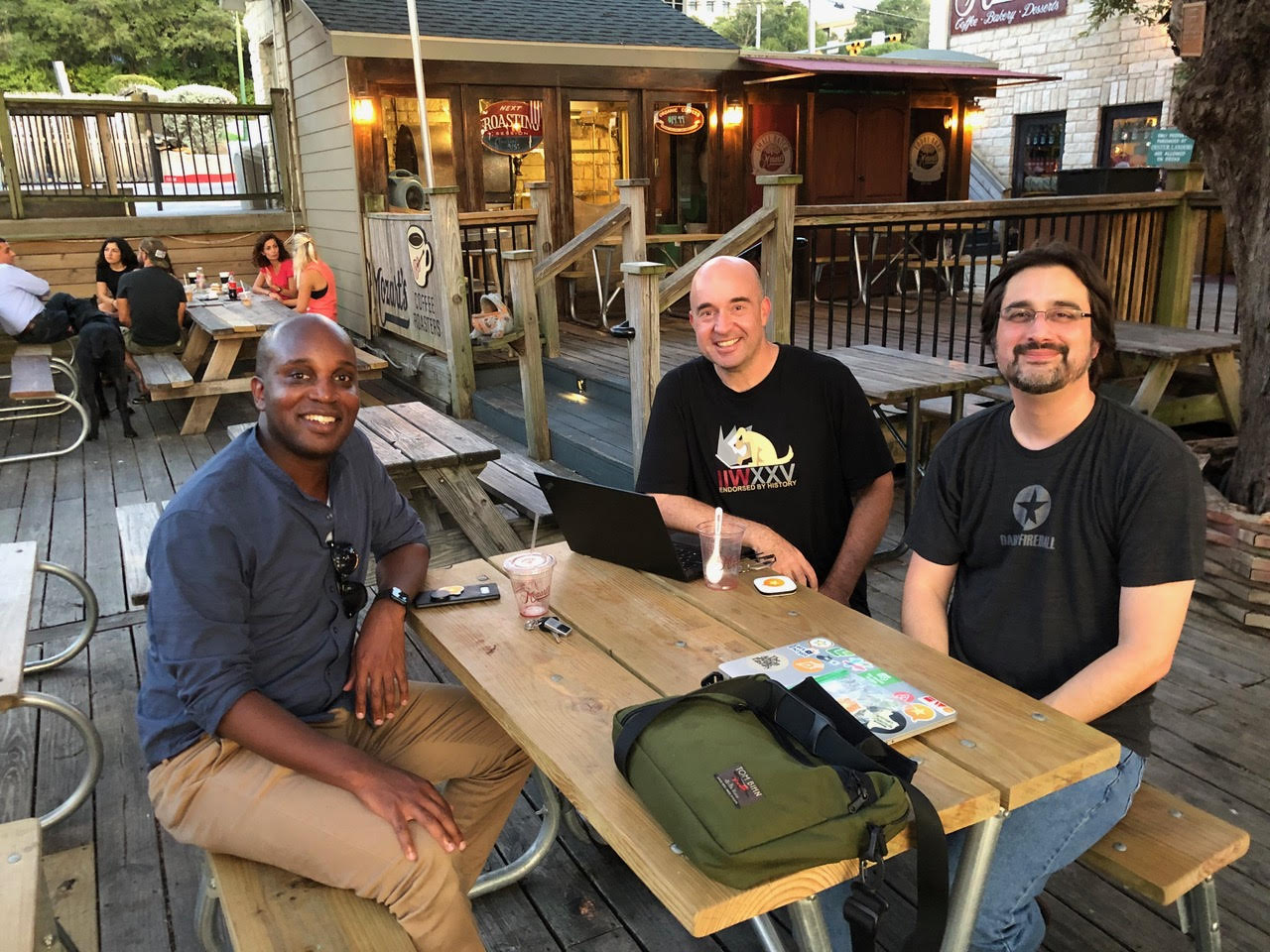 Bryan, Tom, and Manton at Mozart's Coffee, Austin, TX 2019-09-04
