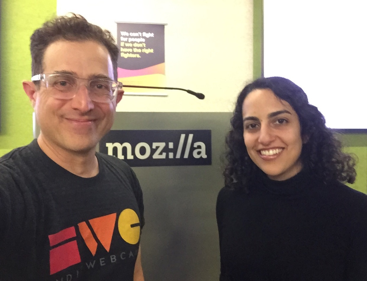 Tantek and Elika in front of Mozilla podium at the Mozilla San Francisco office for Homebrew Website Club San Francisco