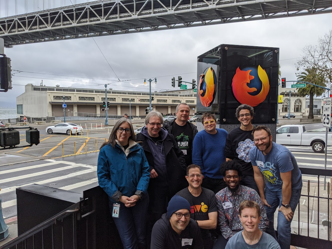 IndieWebCamp San Francisco 2019 Day 1 participants gathered in front of the Firefox tower just outside of Mozilla's San Francisco offices, with Embarcadero and Harrison streets behind them and a span of the Bay Bridge just visible at the top of the photo.