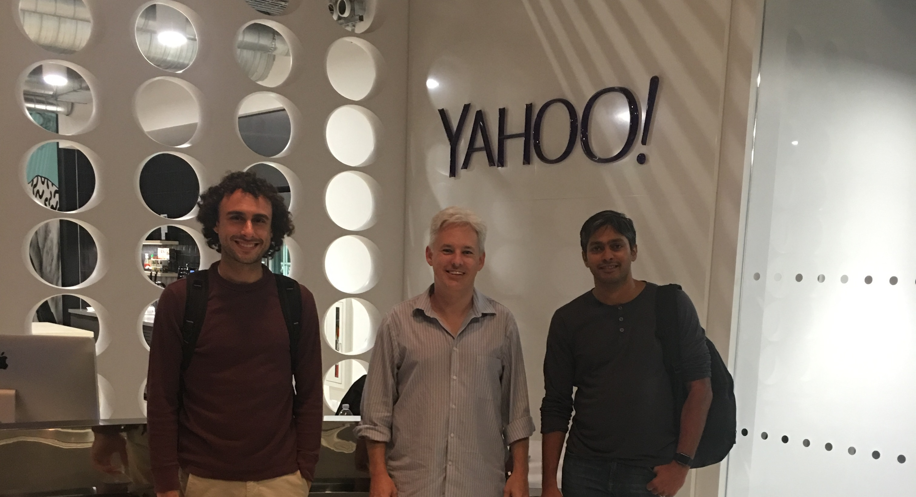 Angelo Gladding, Chris Aldrich, and Srikanth Bangalore at Yahoo's Play Vista Offices in West Los Angeles for HWC 2016-09-21.
