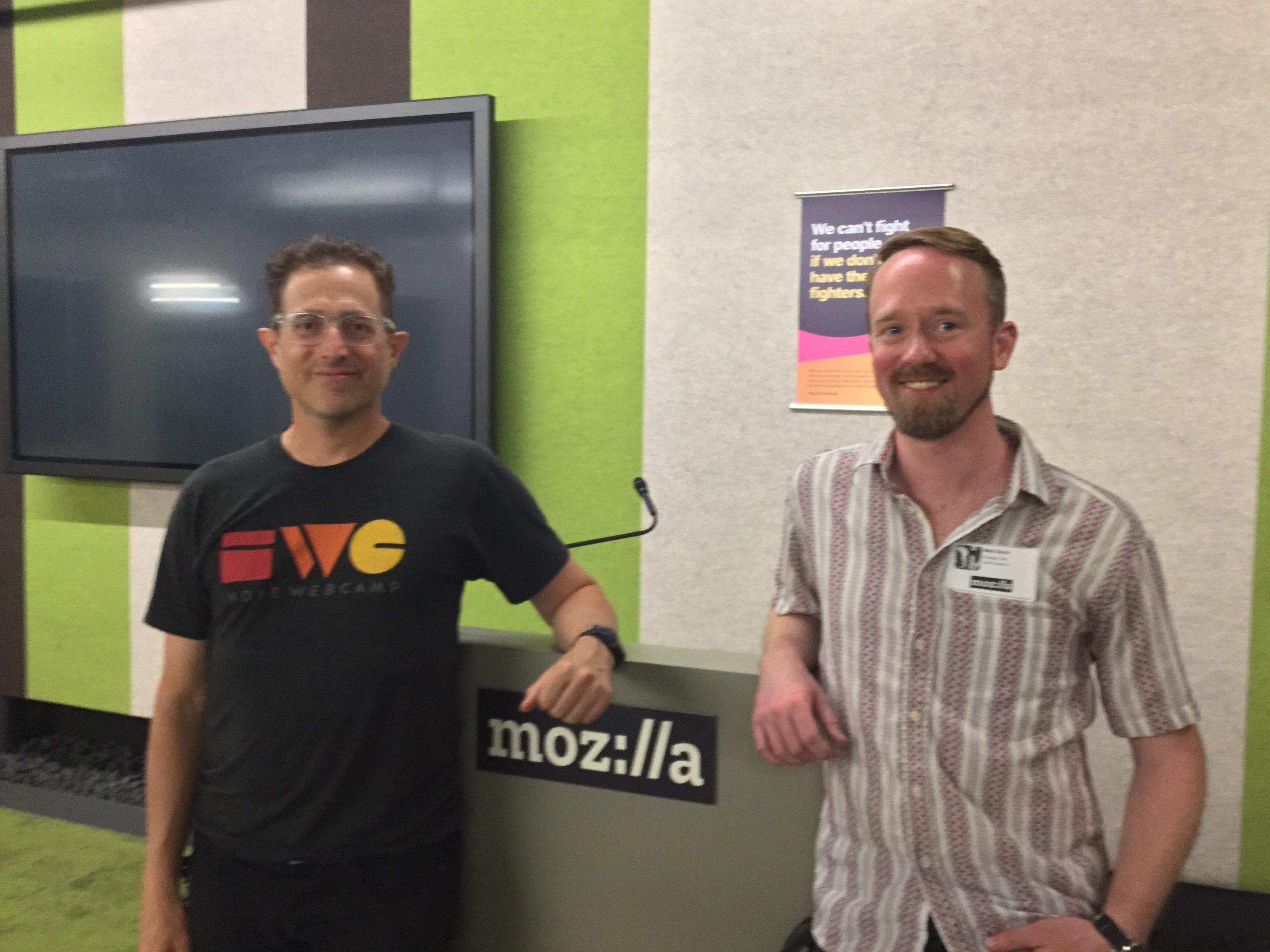 Tantek and Matt at Homebrew Website Club at Mozilla San Francisco