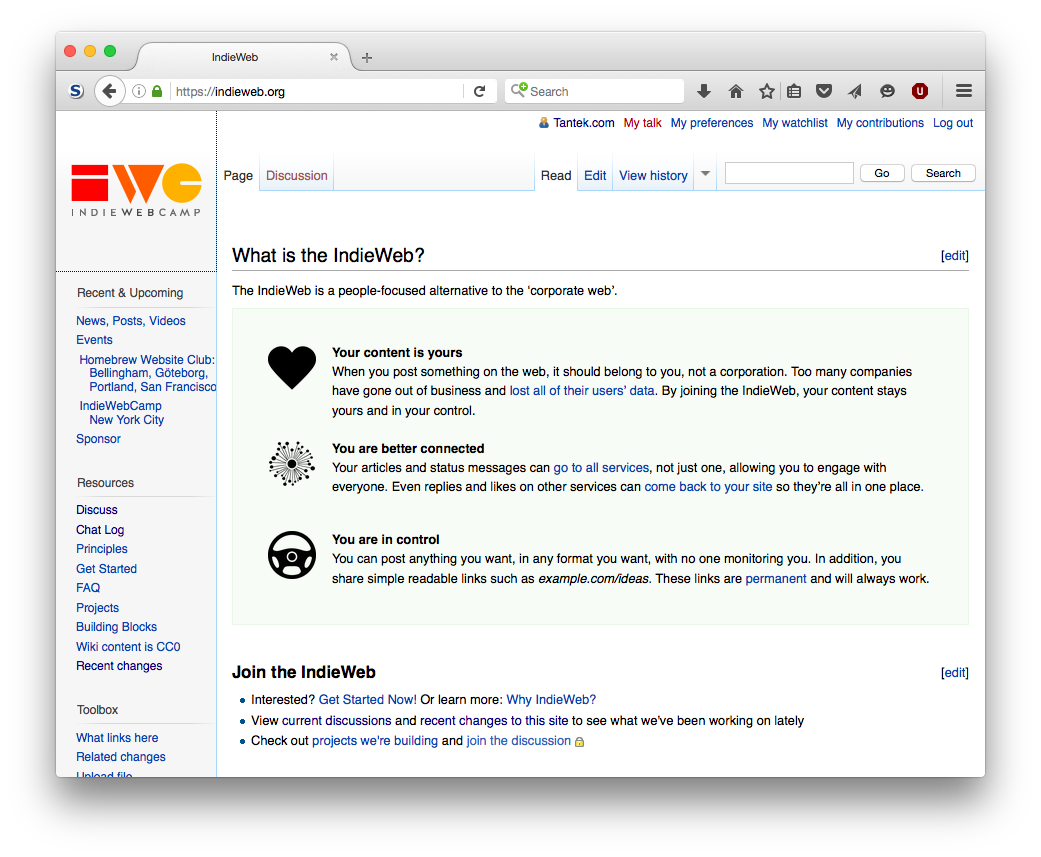 Screenshot of the IndieWebCamp.com home page as of 2016-06-04