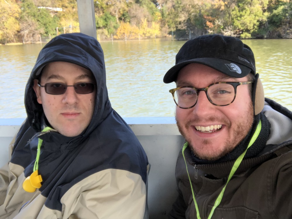 gwg and martymcguire during the water portion of the Austin Duck Adventures tour