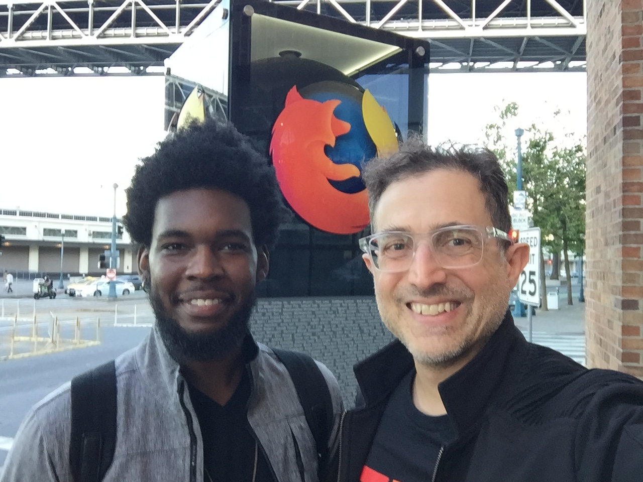 Jacky Alcine and Tantek Çelik outside Mozilla San Francisco right after doing Homebrew Website Club San Francisco inside