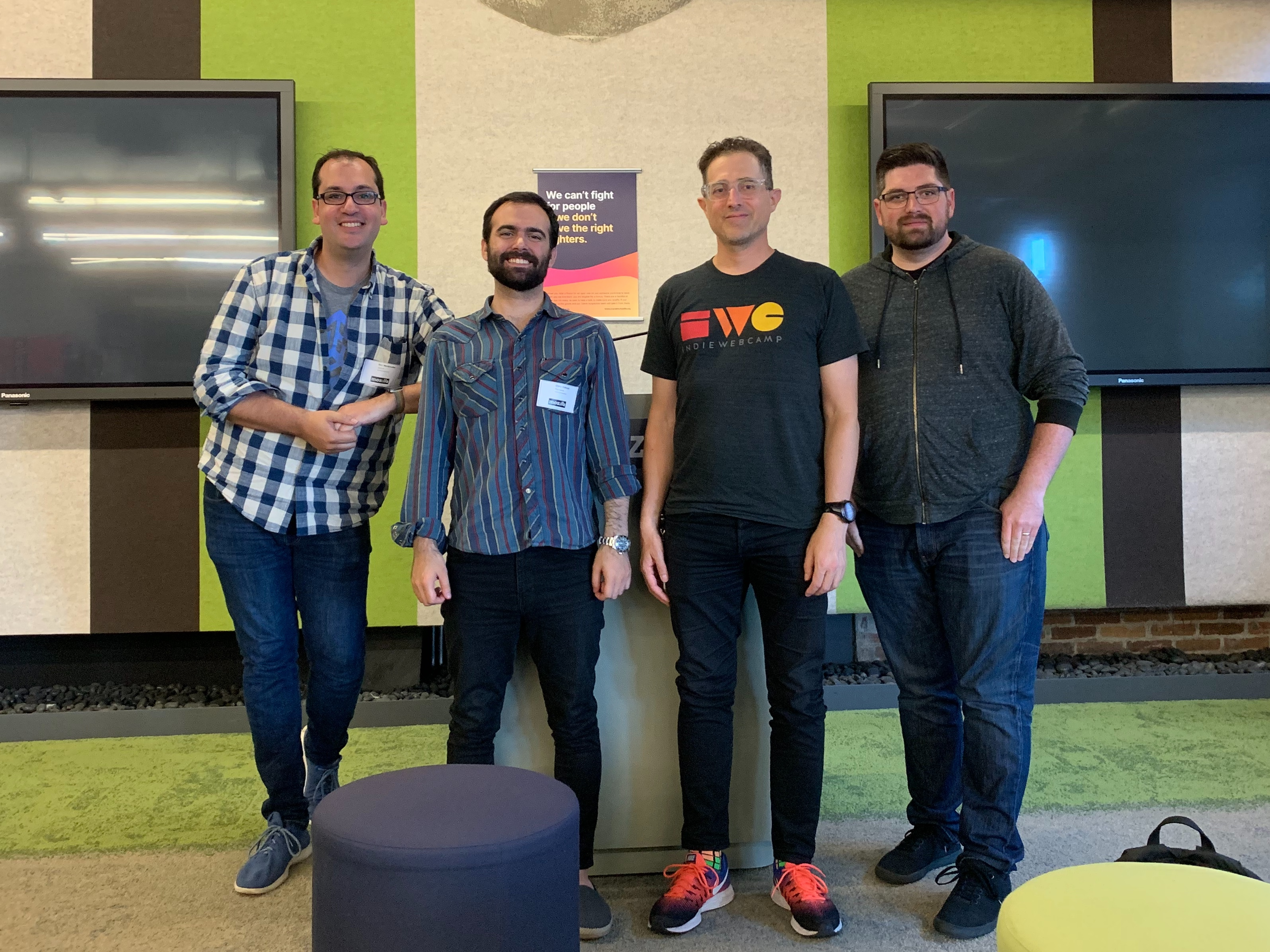 Ben Werdmuller, Chris, Tantek, and Duffy inside at Mozilla San Francisco, 2019-08-21
