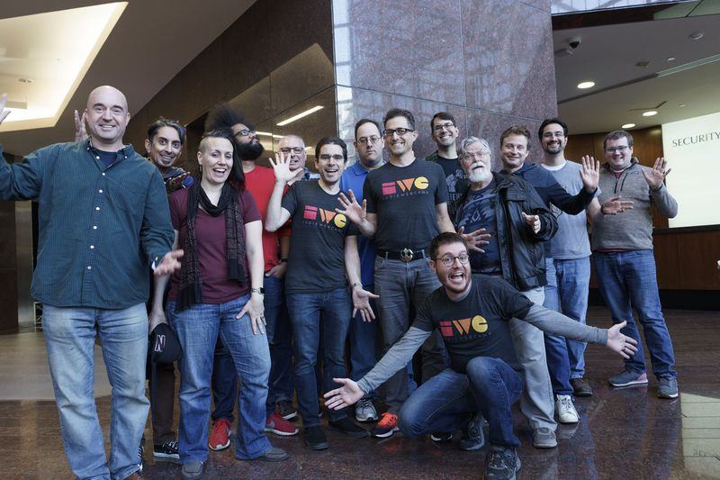 IndieWebCamp Austin Participants in the lobby of the Omni Hotel near the Capitol co-working space where sessions were held.