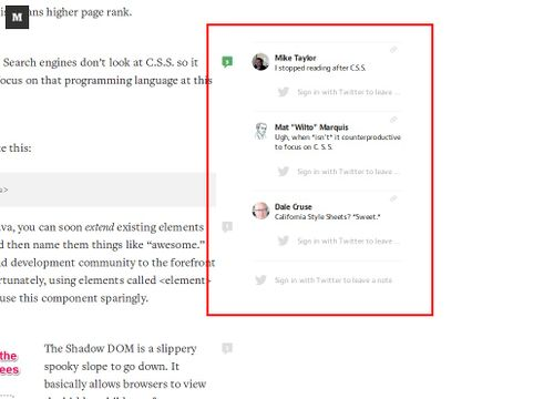 Annotations in sidebar-medium screen