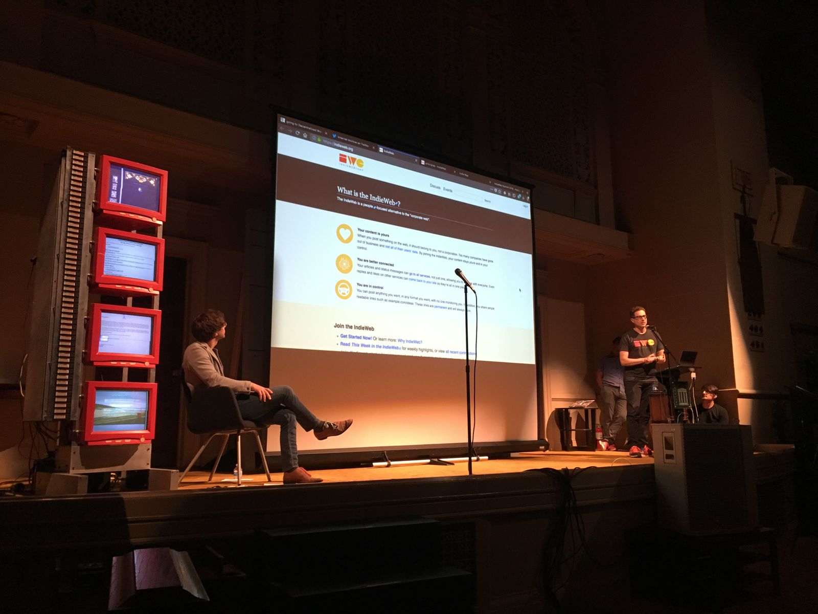 Tantek presenting at the Decentralized Web Meetup at the Internet Archive