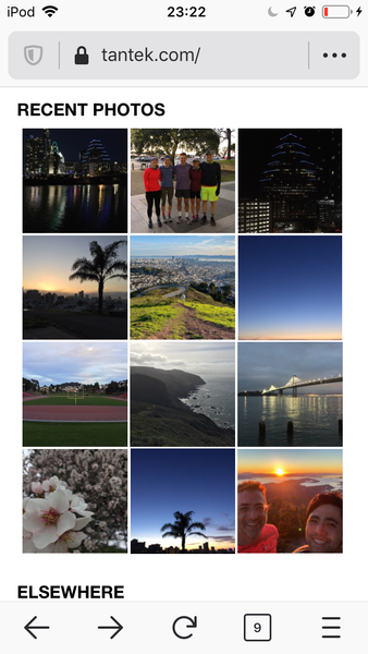 Screenshot of Tantek homepage viewed on iOS Firefox scrolled to show the Recent Photos embed of a 3x4 grid of the twelve most recent photo posts