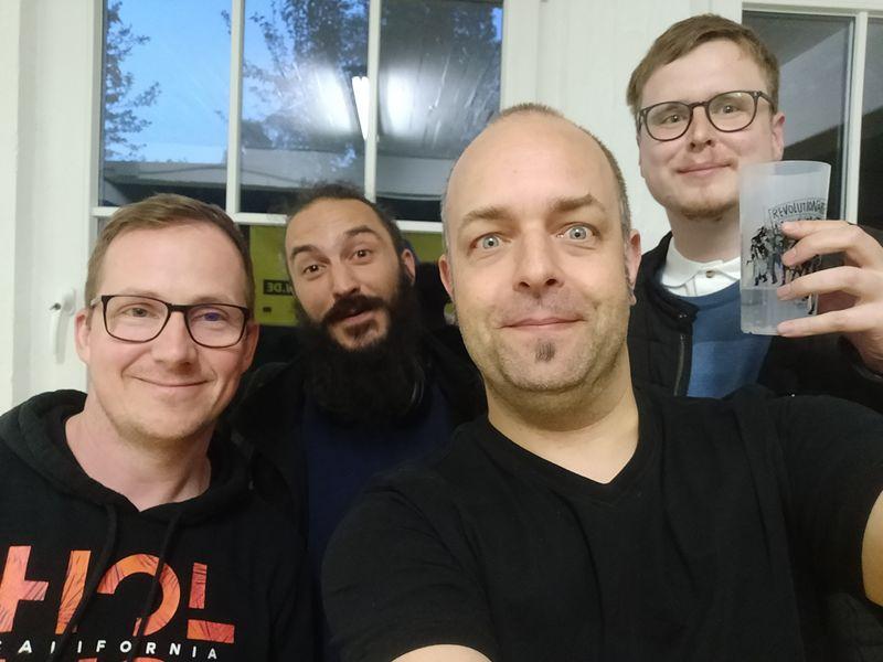 Björn, Alex, Joschi and Matthias attending the Homebrew Website Club at tollwerk in Nuremberg