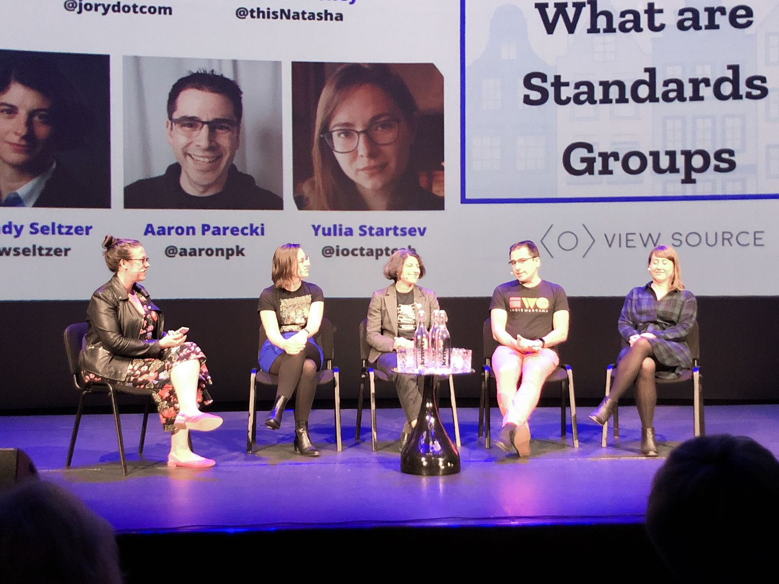 Panelists at the View Source Standards Panel, left to right: Jory, Yulia, Wendy, Aaron, Natasha
