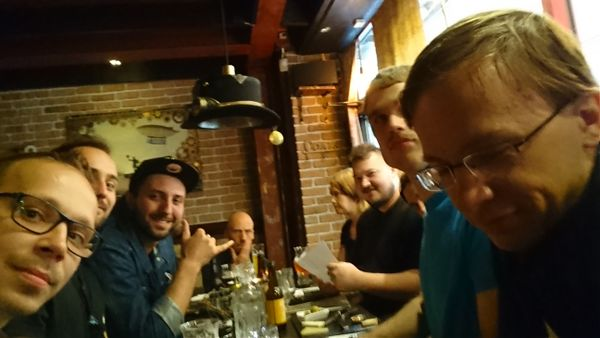 Homebrew Website Club Gothenburg at a table