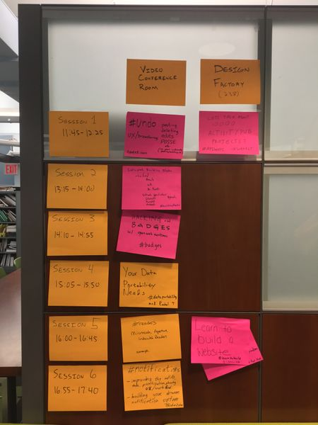 IndieWebCamp New York City 2018 Session Grid in orange and pink post-it notes